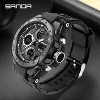SANAD-reloj deportivo de lujo para hombre, cronógrafo de cuarzo, resistente al agua hasta 5atm, Shock, masculino, 6008