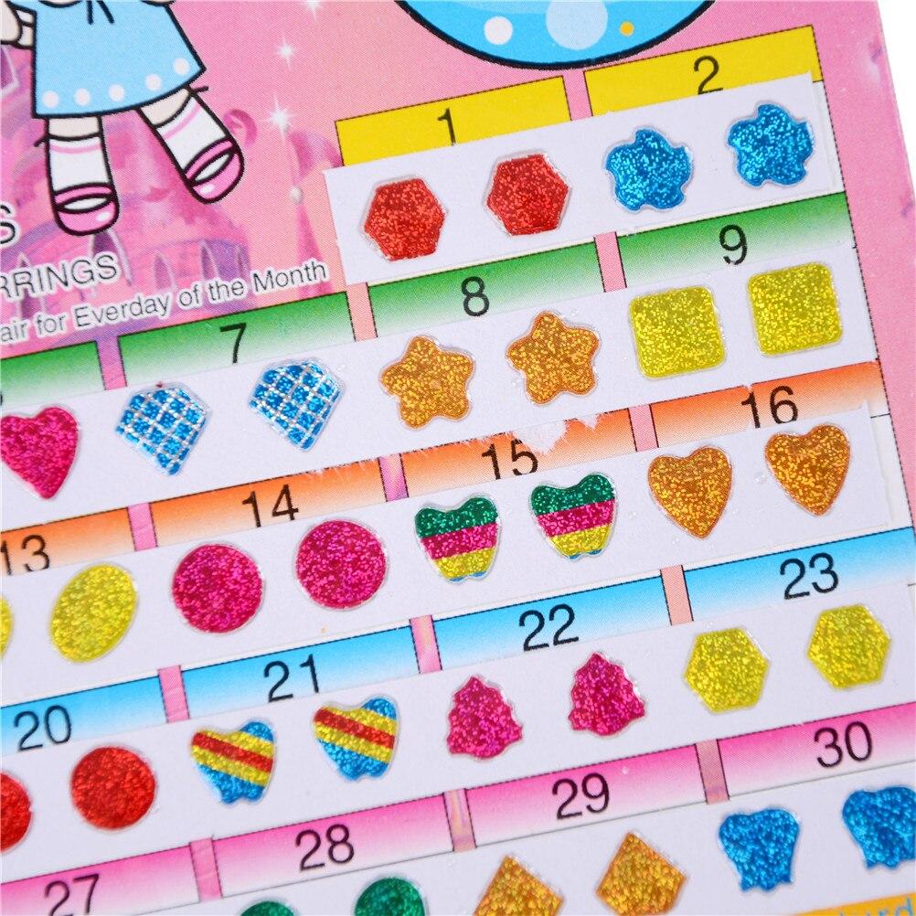 60Pcs Wonderful Children Boy Girl Stickers Earring Cartoon Reward Crystal Stickers Ear Reward Stick Kindergarten Face Stickers