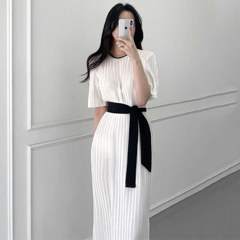 2020 Musim Panas Korea Chic Wanita Gaun Elegan Kantor OL Wanita Lengan Pendek Kasual Lipit Gaun Perban Busur Belt Vestidos