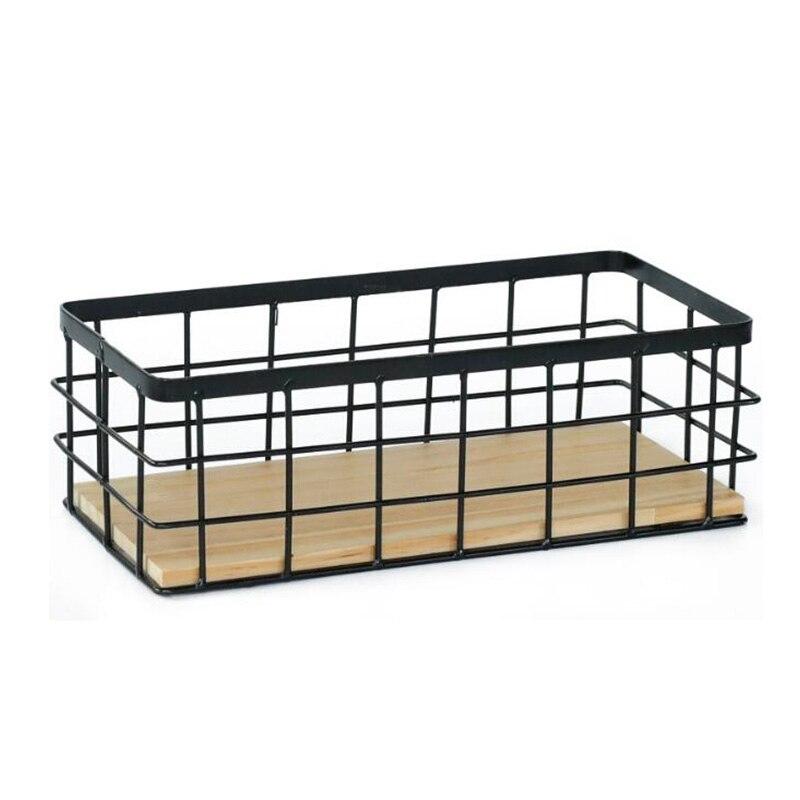 Nordic Wrought Iron Storage Basket Tableware Sundries Organizer Desktop Cosmetics Finishing Storage Basket Home Decor