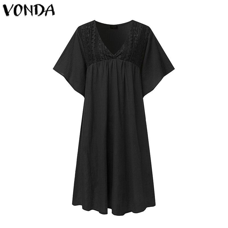 VONDA Women Summer Sundress Sexy Deep V Neck Holiday Solid Dresses Cotton Ruffled Beach Dress Vestidos Plus Size Robe Fermme 5XL