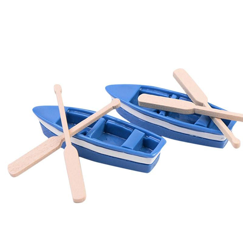 Cute Mini Boat Model Toys For Children Blue Ship Paddle Model Set Wooden Kids Educational Toys 1 Set(1Pcs Boat And 2Pcs Oar)