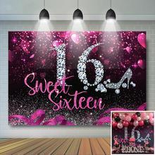 Dolce 16 ° compleanno festa sfondo diamante tacco alto rosa fotografia sfondo ragazze dolce sedicesimo compleanno festa Banner Decor