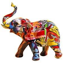 Adorno artesanal de resina de elefante colorido pintado, creativo, para el hogar, sala de estar, armario de vino, porche, decoraciones