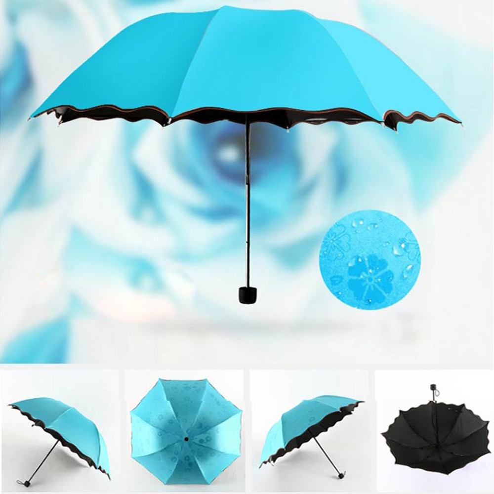 Дорожный зонтик, складной дождевик, ветрозащитный зонтик, складной, анти-УФ, Защита от Солнца/дождя, зонтик, женский подарок, для девочек, анти-УФ, водонепроницаемый, портативный - Цвет: Sky Blue
