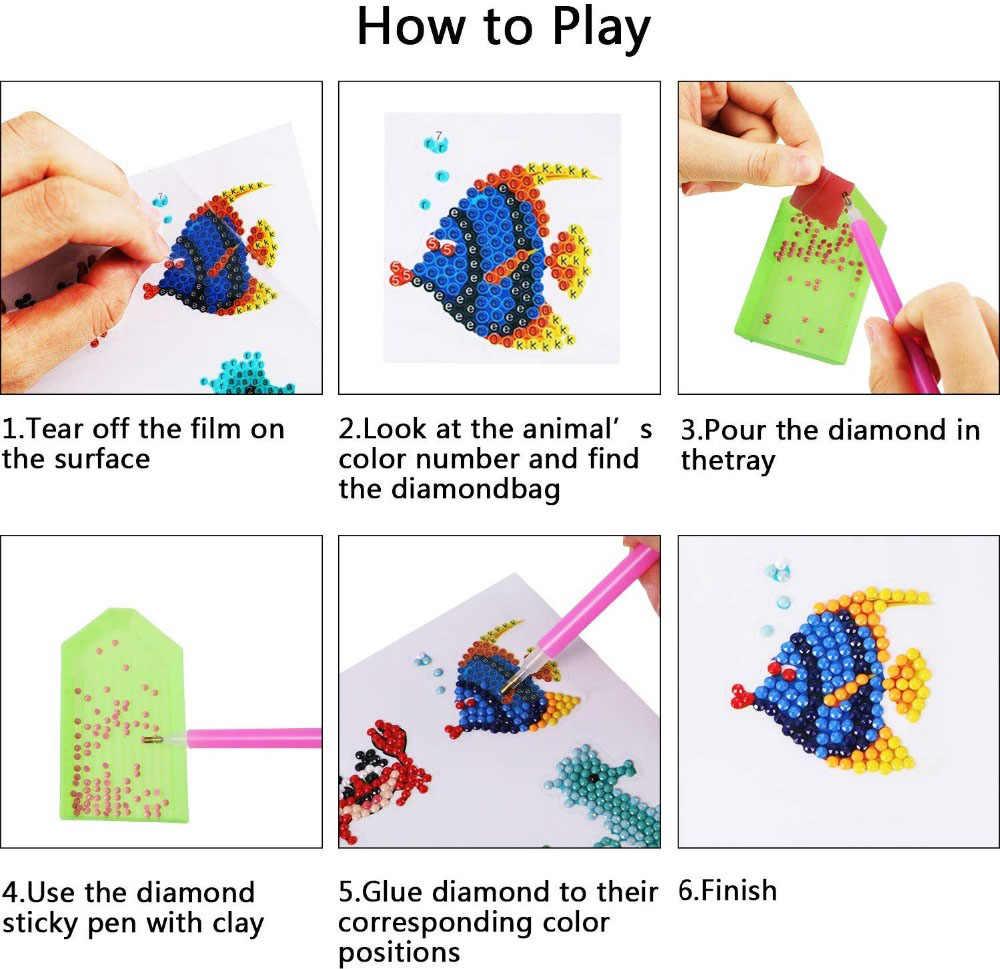 Strumenti da Disegno Mosaico DIY Pittura Diamante per Bambini XYDZ 36 Pezzi Pittura Diamante Adesivo per Bambini,Diamond Pittura Bambini,5D Diamante Painting Kit per Bambini