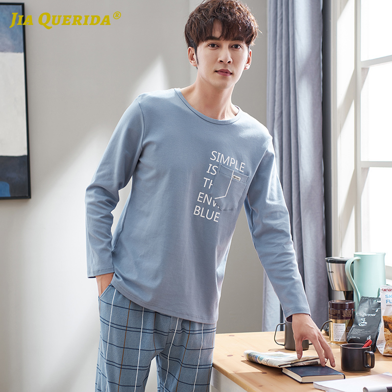 Men Pajamas 100% Cotton Luxury Men Home Clothing Long Sleeves Pullover Letter Printing Sleepwear Blue Plaid Pants Big Size Set