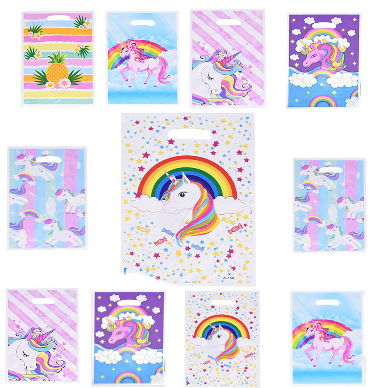 Cute Rainbow Unicorn Candy Bag Unicorn Party Balloon Happy Birthday Cake Topper Baby Shower Wedding Gift Packing Decora Supplies