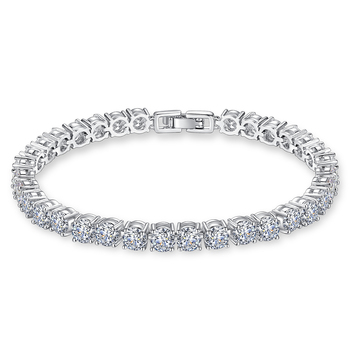LUOTEEMI New AAA 1 Carat 5mm Round Cubic Zirconia Tennis Bracelets Micro CZ Inlay Bracelets & Bangles Wedding Engagement Jewelry