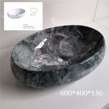 097 Retro Marble Vein Rectangle Ceramic Sink High Temperature Firing Hand Wash Sink Simple Hotel Above Counter Basin Bowl