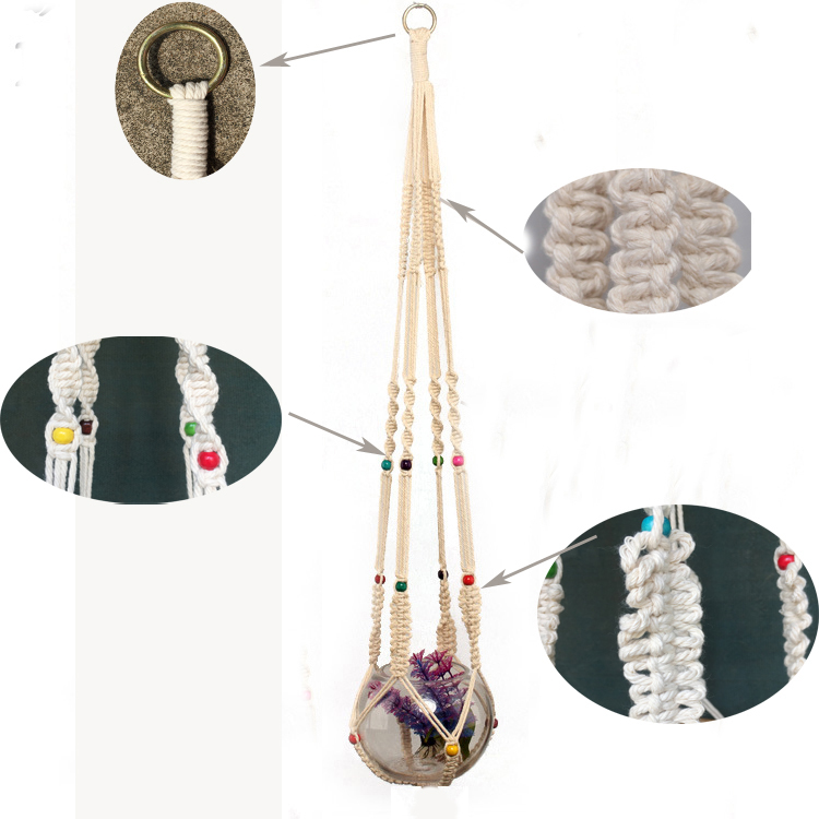 Handmade Macrame Cotton Rope Plant Pot Hanger