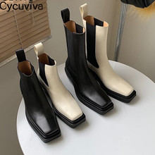 Ankle-Books Knight Boots Short Platform Toe-Chelsea Thick Sole Flat Real-Leather Women
