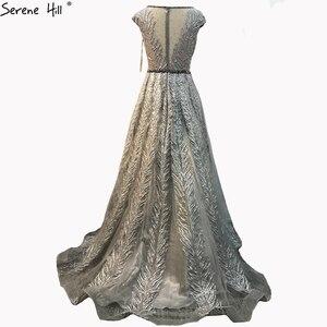 Image 3 - Розовое вечернее платье с V образным вырезом, длинное кружевное вечернее платье трапеция без рукавов, расшитое бисером, с кристаллами, Serene Hill LA70225, 2020