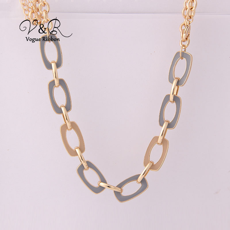 Two Tone Enamel  Penent Multiple Sized Link Chain N Necklace (1)