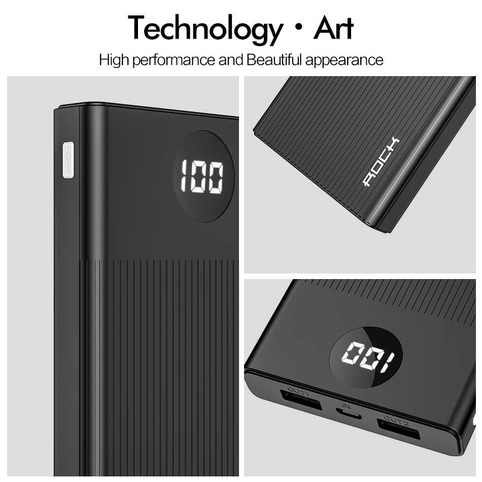 ROCK Power Bank 10000MAh Portable Cepat Charge Powerbank USB Poverbank Baterai Eksternal Charger untuk iPhone XR 8 Xiaomi Samsung
