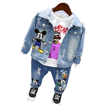 Boys denim jacket spring and autumn boys and girls suit children's tide thin jacket denim jacket and trousers недорого
