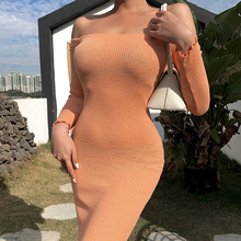 InstaHot Solid Off the Shoulder Sexy Pencil Maxi Dress Angle Length Vintage Knitted Skinny Slim Long Sleeve Sexy Women Dress
