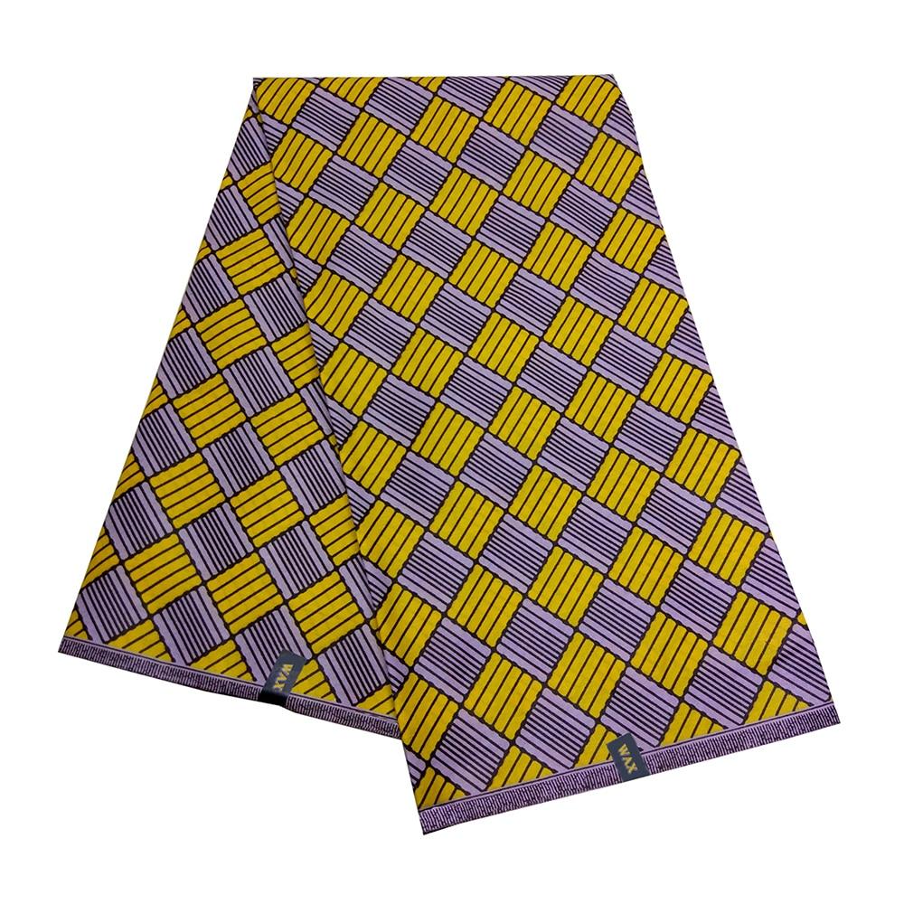 African Fabric Nederlands Wax Yellow&Purple Square Print High Quality Kwanzaa Wax Fabric 6Yards\Set