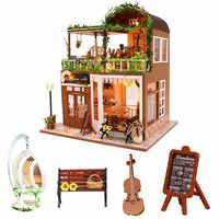 Diy café casa de muñecas de madera casa juguete cello miniatura casa de muñecas kast kit de muebles juguetes para niños juguetes para el hogar para los ni os