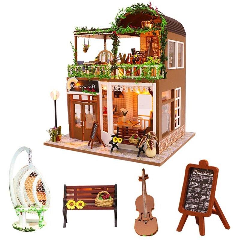 Diy café casa de boneca de madeira casa juguete violoncelo miniatura dollhouse kast kit de móveis crianças brinquedos para casa para los ni os