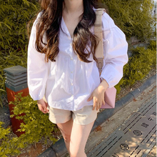 Women Blouse Puff-Sleeve White-Shirts Arrvial Button Chic-Tops Loose Autumn Casual Korea
