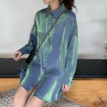 Solid Color Womens Shirt Spring Autumn Casual Loose Single-breasted Tops and Blouses Vintage Fashion Women 2019