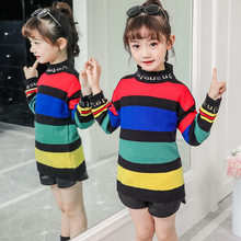 Get more info on the Autumn Casual Girls Round Neck Sweater Red Black Stripe Kids Princess Long-Sleeved Multicolored Rainbow Striped Pullover Sweater