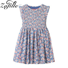 ZAFILLE Summer Dress Girl Sleeveless Floral Printed Baby Girl Clothes Cotton Girls Dress Toddler Kids Clothes Infant Clothing zafille baby girls clothes soft summer dress for girl sleeveless kids clothes toddler patchwork girl dress cotton girls clothing