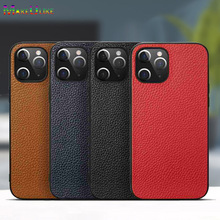 Genuine Leather Case For iPhone 12 Pro Max Mini Case Soft Cover Lychee Grain Phone Case for iPhone 12Pro iPhone12 12mini Cover