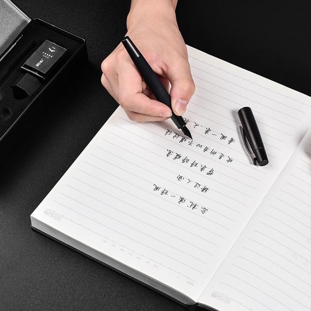 Fountain Pen ink Full Metal Clip Pens HongDian Stainless Steel Black Army General Fountain-Pen Nib 0.4mm 0.5mm Office Supplies 5