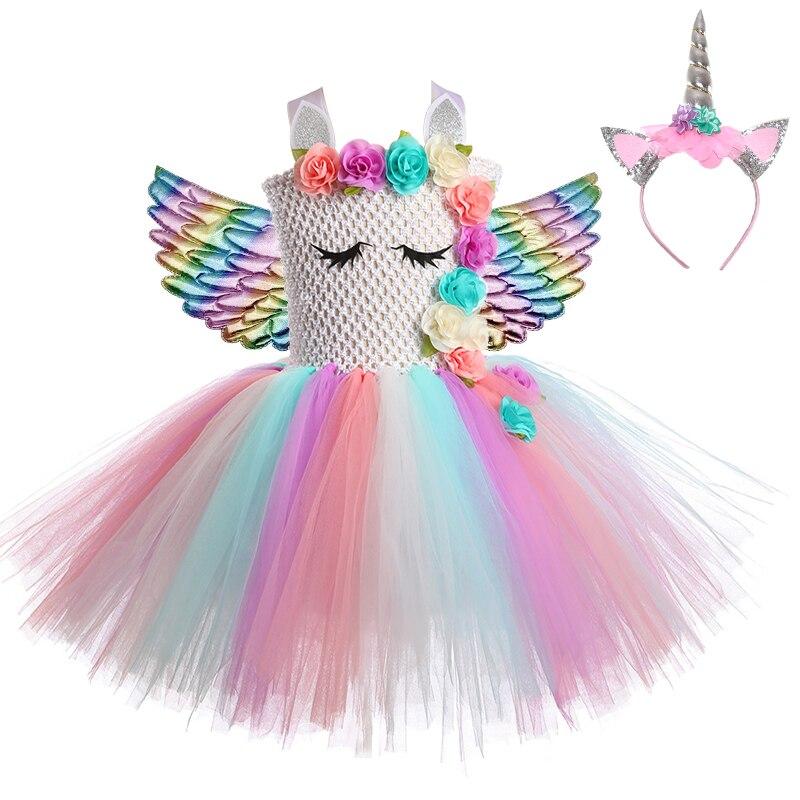 Unicórnio vestido princesa bebê meninas vestidos para meninas cosplay arco-íris crianças aniversário halloween unicórnio festa traje com asas