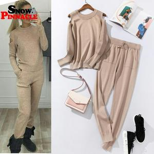 Image 1 - 2020 Fashion Women sweater customes sets Spring Autumn 100% Cotton thick soft long pant knitted sets Casual 2PCS Track Suits
