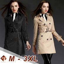 Women's Lapel Windbreaker Fashion Casual Double-breasted Female Slim Long Trench with Belt Female Retro Plus Large Size Outwear