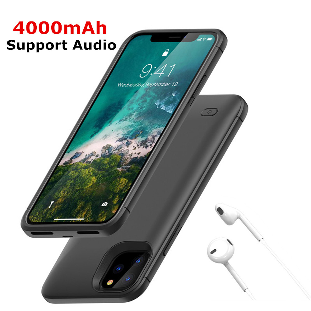 <font><b>4000mAh</b></font> Extended Phone Battery <font><b>Power</b></font> Case For iPhone 11Pro <font><b>Power</b></font> <font><b>Bank</b></font> Charger Case For iPhone 11/iPhone 11 Pro Max Support audio image