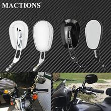 Motorcycle Rear Side Mirror Gloss Black/Chrome For Harley Touring Street Glide FLHR Fatboy Softail Sportster XL Bobber Chopper