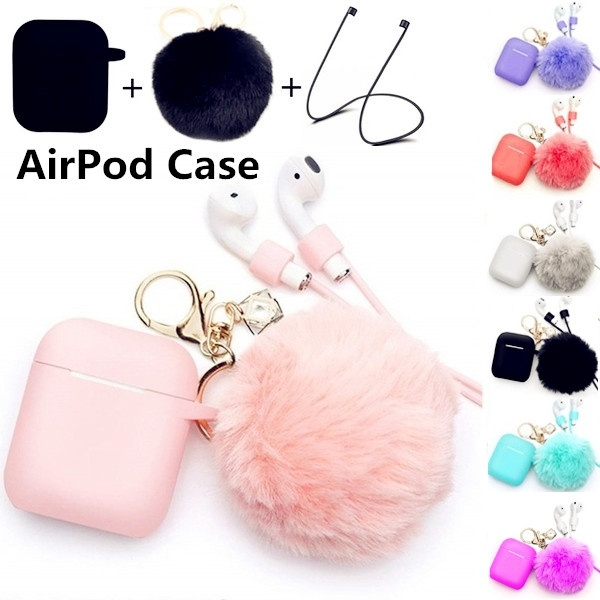 Fur Ball Airpods Keychain Airpods Accessories Waterproof Airpods Case Drop Proof Protective Case Cover Silicone Skin Key Chains