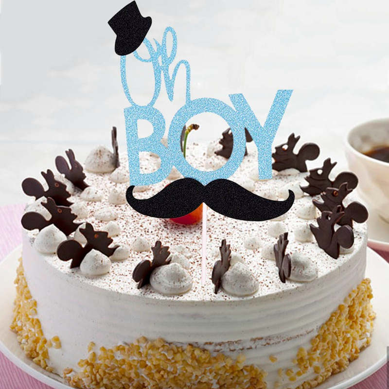 Enjoyable 1 Piece New Glitter Blue Mustache Little Man Cake Topper Oh Boy Birthday Cards Printable Trancafe Filternl