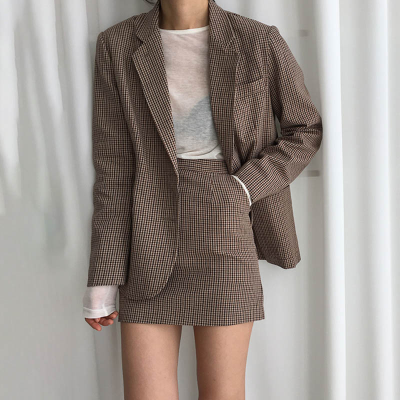 OL Plaid Blazer Women Loose Korean Blazers And Jackets Casual Plaid Jacket Plus Size Oversized Coat Single Breasted Vintage New