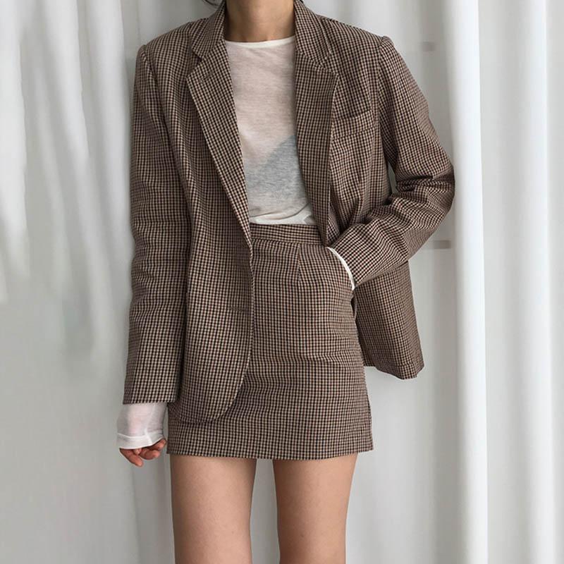 OL Plaid Blazer Women Loose Korean Blazers And Jackets Casual Plaid Jacket Plus Size Oversized Coat Single Breasted Vintage New