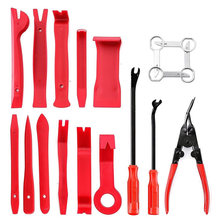 18pcs Pry Door Panel Audio Car Removal Tool Installation Trim Clip Cloth Bag Set Plier(China)