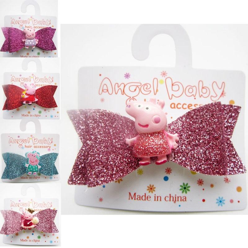 Peppa Pig Children Cute Cartoon Flower Hairpins Barrettes Kid Girls Lovely Colors Hair Clips Kids Baby Sweet Hair Accessories