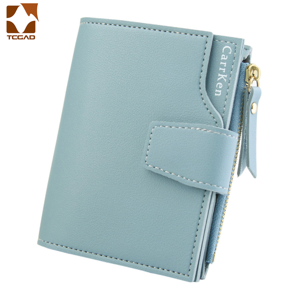 Women's Wallet Carteira Feminina Leather Wallet Short Porte Money Women Three Fold Zipper Slim Porte Feuille Femme  Cartera