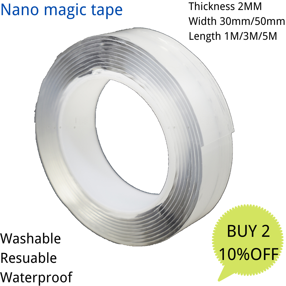 Nano Magic Tape Traceless Removable Washable Adhesive Invisible Gel Anti-Slip
