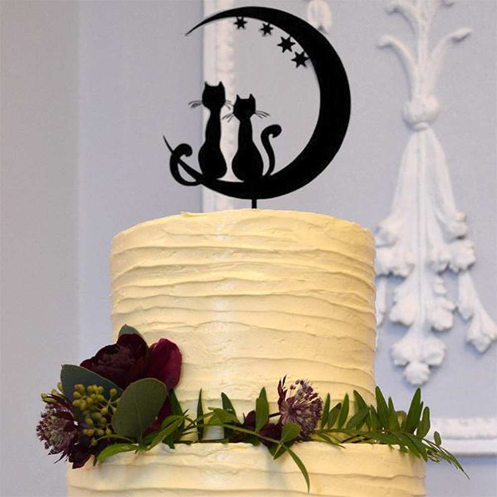 Free Shipping Wedding <font><b>Cake</b></font> <font><b>Topper</b></font> Mr & Mrs with <font><b>Cats</b></font> Silhouette <font><b>Cat</b></font> Groom & Bride Wedding <font><b>Black</b></font> Acrylic <font><b>Cake</b></font> <font><b>Topper</b></font> image