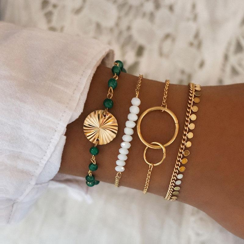 4 Pcs/ Set Green Beads Chain Bracelets Set for Women Beads Strand Round Loop Charm Bracelets Women's Gold Link Chain Braclets