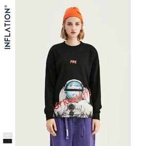 Image 3 - INFLATION ASTRONAUTEN Drucken Raum Elemente Fleece Männer Sweatshirt In Weiß Und Schwarz Männer Lose Fit Streetwear Männer Sweatshirt 9621W