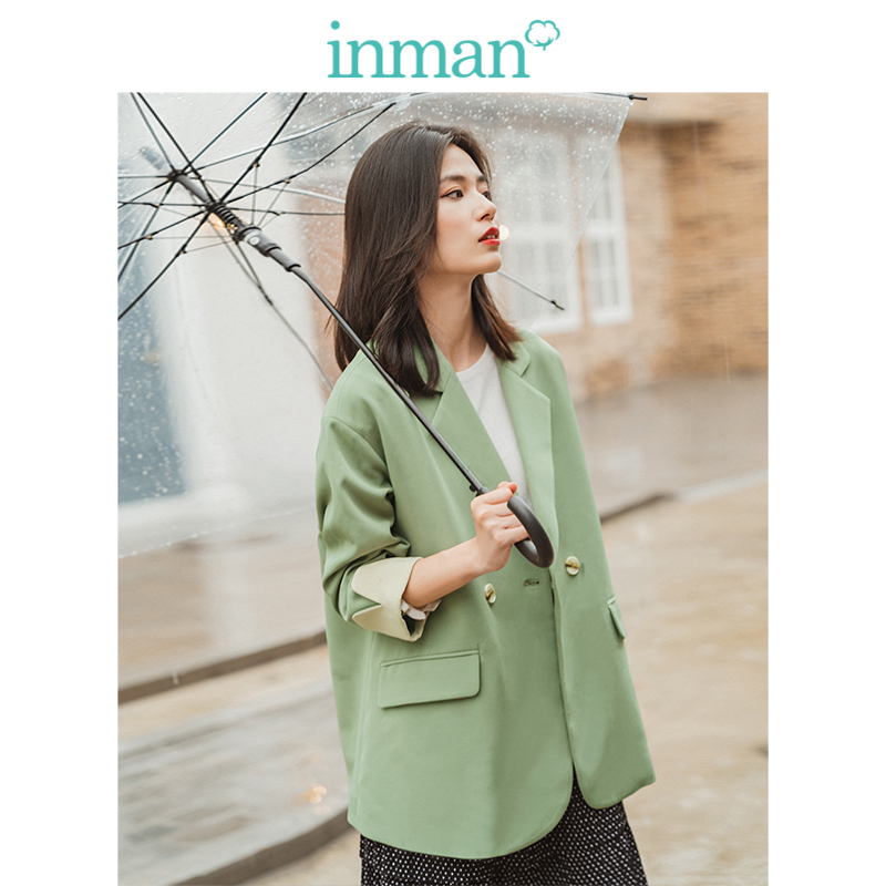 INMAN Spring Autumn Turn Down Collar Drop-shoulder Sleeve Contrast Elegant All Matched Light Green Women Suit Coat