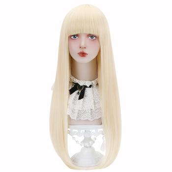 цена на Free Beauty Long Straight Synthetic Blonde Rich Copper Pink Hair Wigs with Bangs for Women Lolita Cosplay Costume Halloween