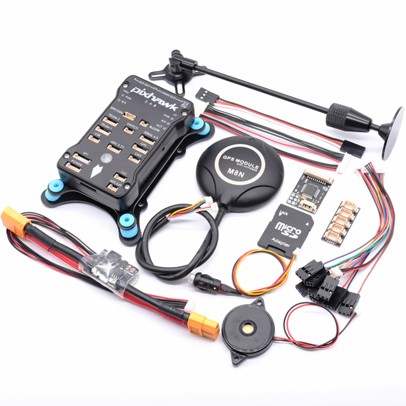 Pixhawk PX4 PIX 2.4.8 32 Bit Flight Controller w/ 4G SD Safety Switch Buzzer M8N GPS+PPM+I2C+shock Absorber+xt60 power module(China)