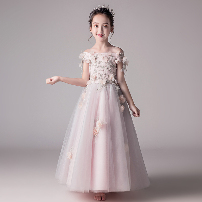2019 New Style Girls' Princess Skirt Small Host Evening Gown Girls Birthday Piano Costume Flower Boys/Flower Girls Wedding Dress